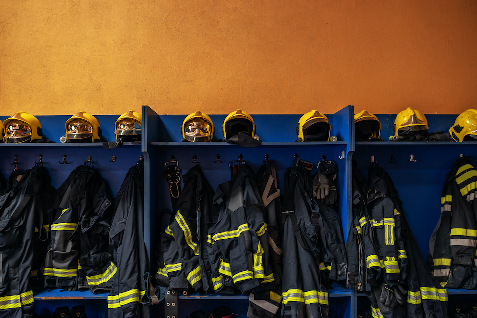 Picture of protective suit and helmets in fire brigade.