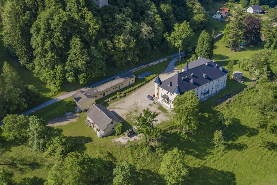An amazing view of the Bukoje Manor in Slovenia surrounded by trees